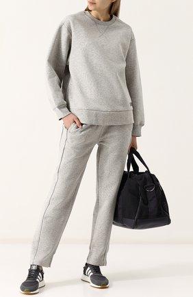 Хлопковый пуловер свободного кроя с круглым вырезом adidas by Stella McCartney серого цвета | Фото №1