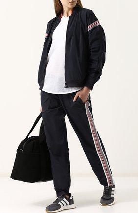 Брюки прямого кроя с лампасами  adidas by Stella McCartney синего цвета | Фото №1