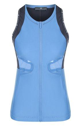 Спортивный топ на молнии с открытыми плечами adidas by Stella McCartney голубого цвета | Фото №1