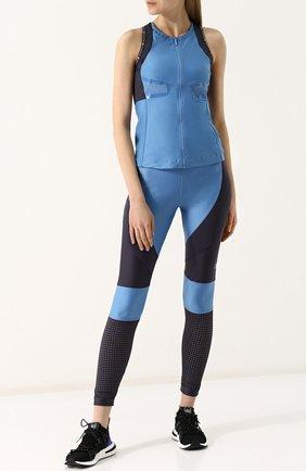 Спортивные леггинсы с перфорированием adidas by Stella McCartney голубого цвета | Фото №1