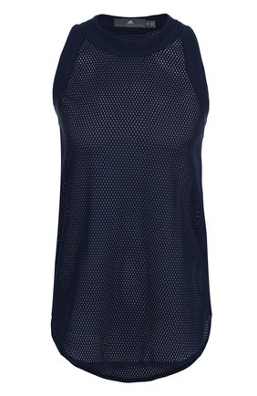 Однотонный спортивный топ с перфорированием adidas by Stella McCartney синего цвета | Фото №1