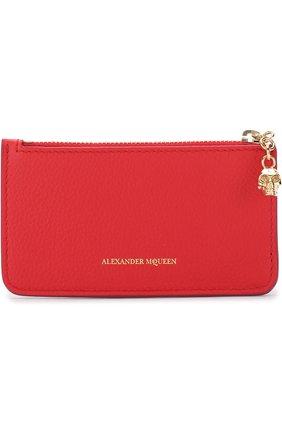 Женский кожаный футляр для кредитных карт с отделением на молнии ALEXANDER MCQUEEN красного цвета, арт. 501022/BPT0G | Фото 1