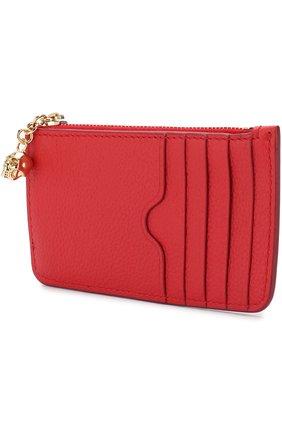 Женский кожаный футляр для кредитных карт с отделением на молнии ALEXANDER MCQUEEN красного цвета, арт. 501022/BPT0G | Фото 2
