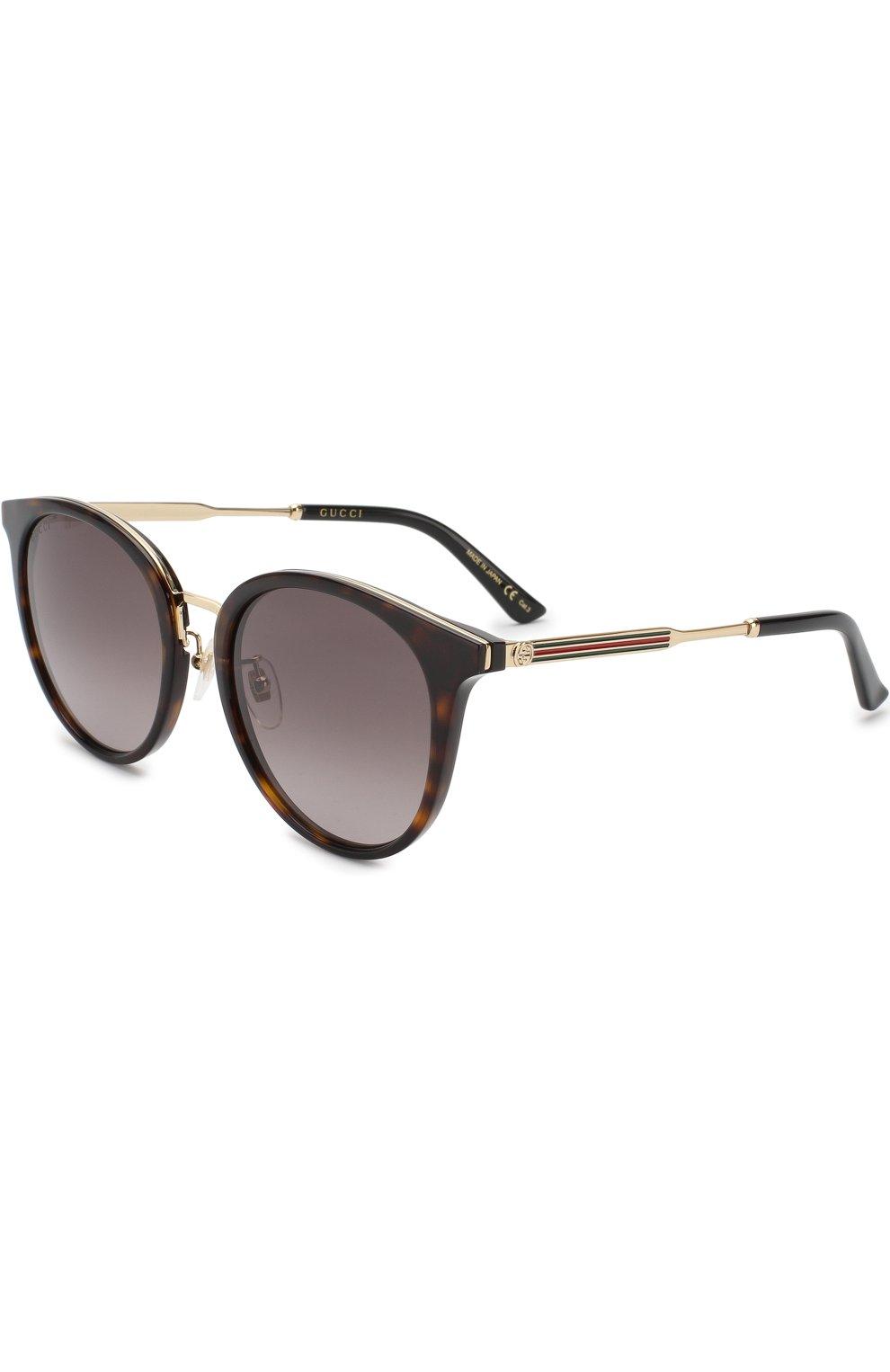 Женские солнцезащитные очки GUCCI коричневого цвета, арт. GG0204SK 002 | Фото 1
