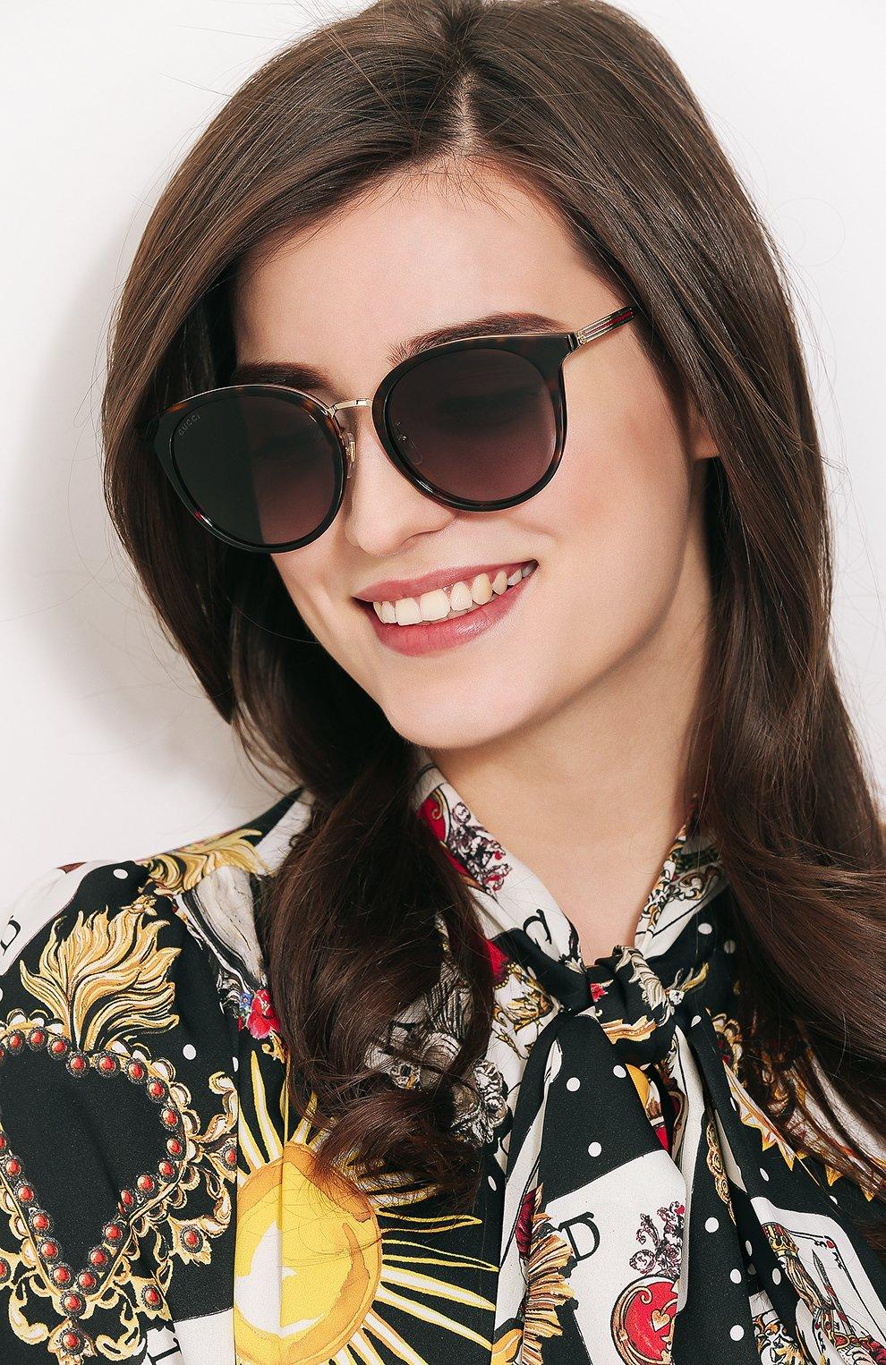 Женские солнцезащитные очки GUCCI коричневого цвета, арт. GG0204SK 002 | Фото 2