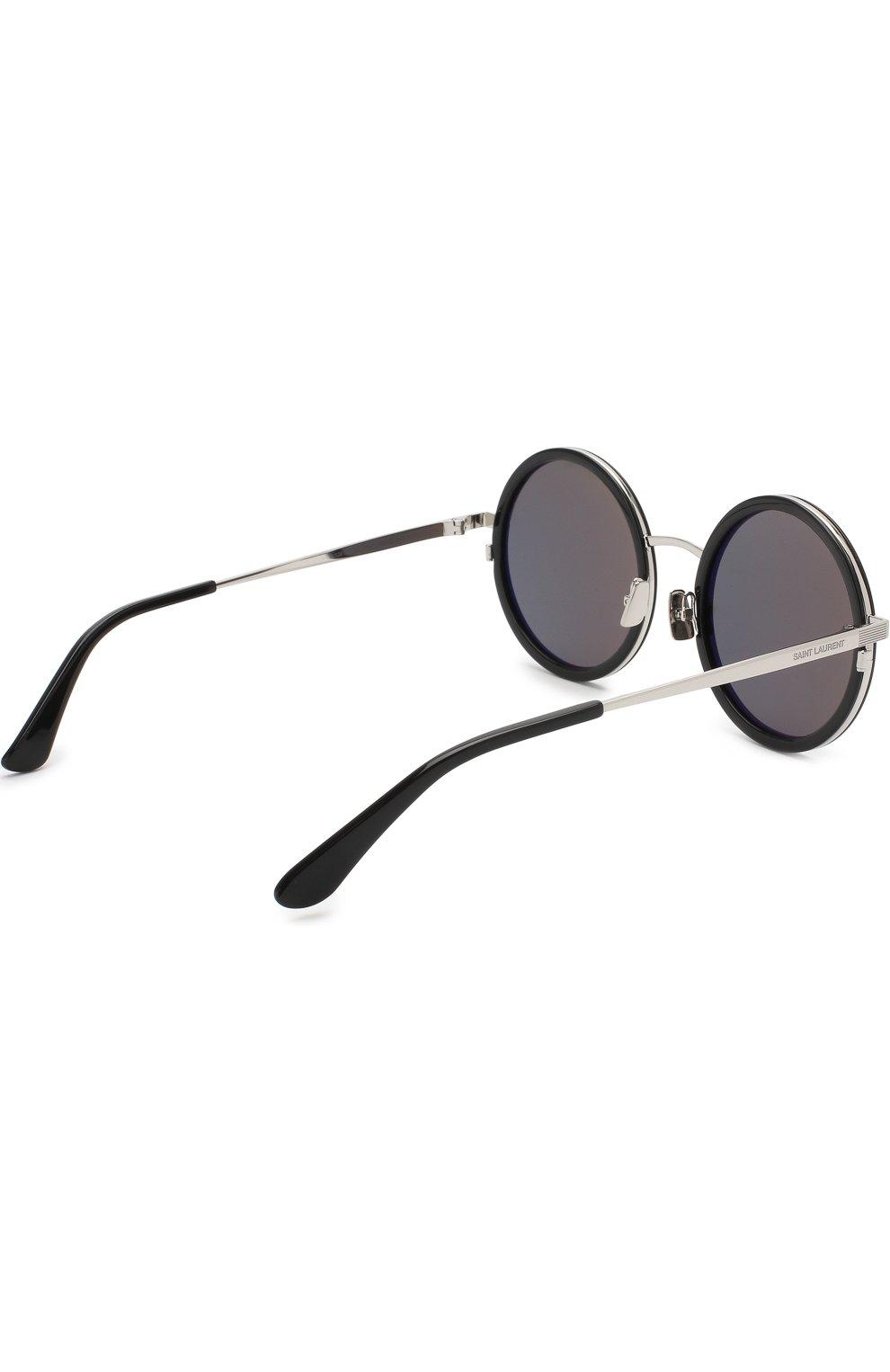 Женские солнцезащитные очки SAINT LAURENT серебряного цвета, арт. SL 136 C0MBI 001 | Фото 3