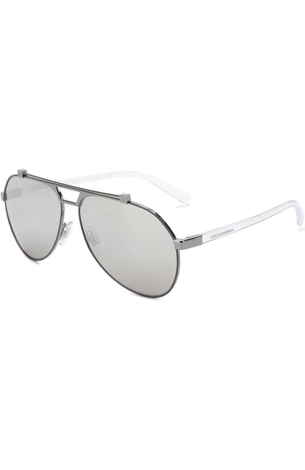 Мужские солнцезащитные очки DOLCE & GABBANA серебряного цвета, арт. 2189-04/6G   Фото 1