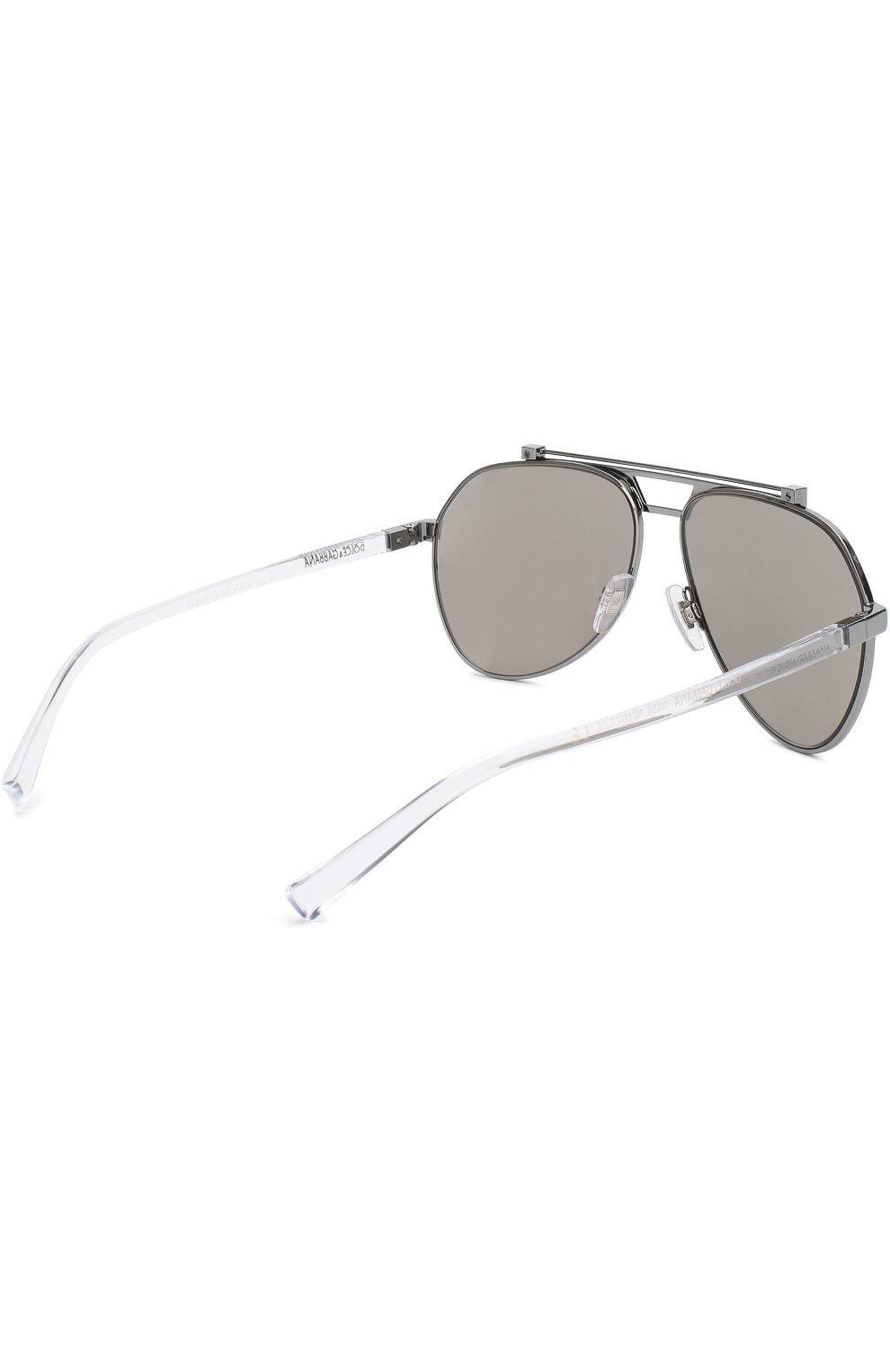 Мужские солнцезащитные очки DOLCE & GABBANA серебряного цвета, арт. 2189-04/6G   Фото 3