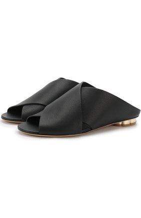 Кожаные сабо на фигурном каблуке | Фото №1