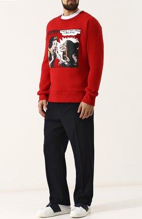 Мужские кожаные кеды open на шнуровке VALENTINO белого цвета, арт. QY2S0830/BLU | Фото 2