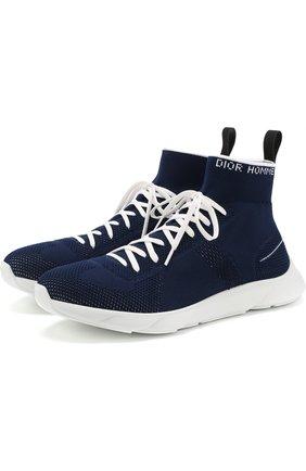 Высокие текстильные кроссовки на шнуровке Dior темно-синие | Фото №1