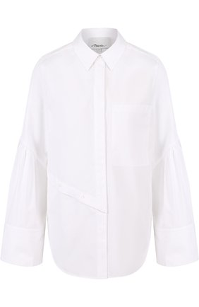 Хлопковая блуза свободного кроя с накладным карманом | Фото №1