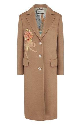 Женское однотонное шерстяное пальто с  декоративной отделкой GUCCI бежевого цвета, арт. 495135/ZKK51 | Фото 1