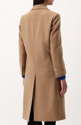 Женское однотонное шерстяное пальто с  декоративной отделкой GUCCI бежевого цвета, арт. 495135/ZKK51 | Фото 4