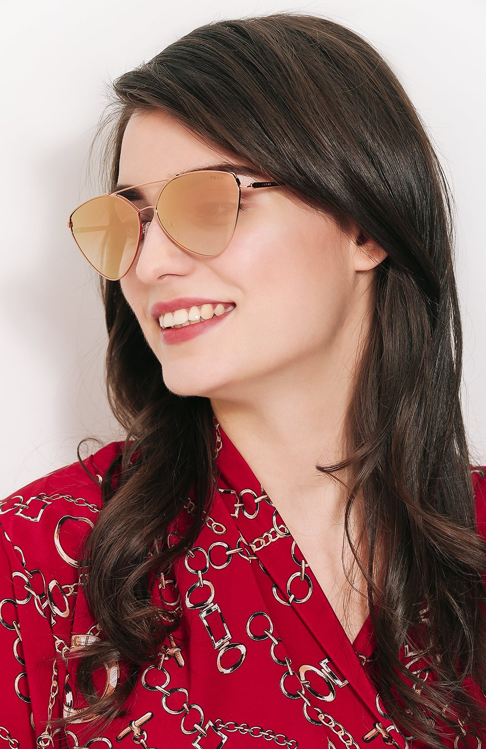 Солнцезащитные очки Prada золотые   Фото №2