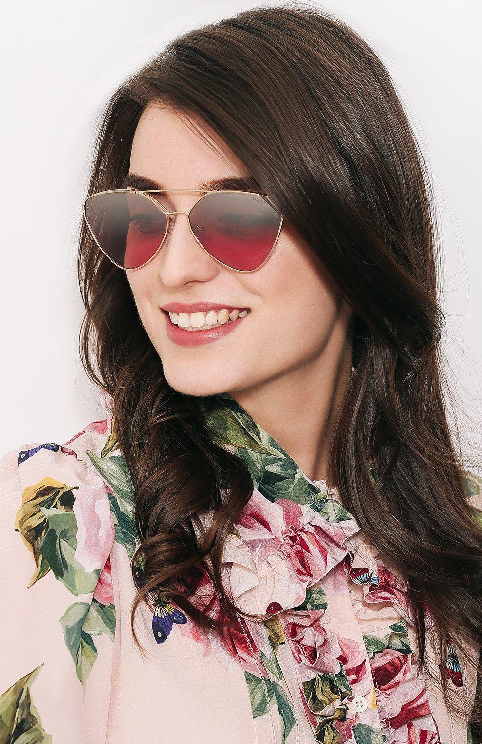 Солнцезащитные очки Prada золотые | Фото №2