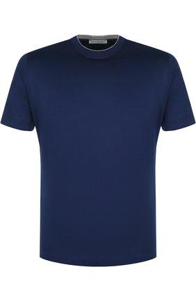 Хлопковая футболка с круглым вырезом Cortigiani синяя | Фото №1