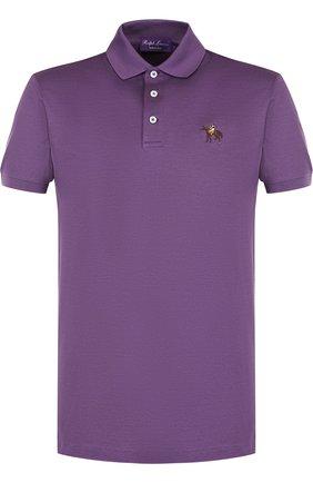 Мужское хлопковое поло RALPH LAUREN фиолетового цвета, арт. 790508036   Фото 1