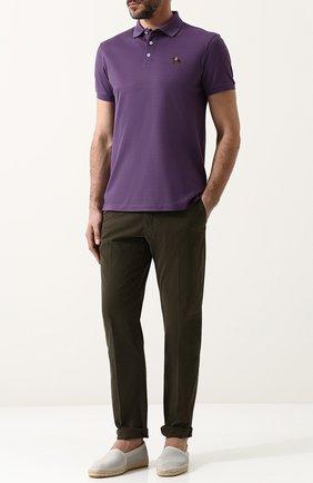 Мужское хлопковое поло RALPH LAUREN фиолетового цвета, арт. 790508036   Фото 2