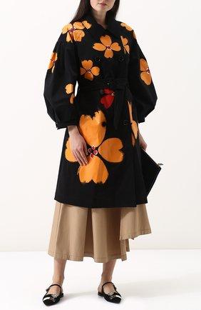 Хлопковое пальто с поясом и принтом Simone Rocha черного цвета | Фото №1