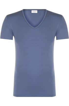 Хлопковая футболка с V-образным вырезом Perofil голубая | Фото №1