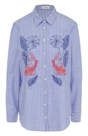 Женская хлопковая блуза в полоску с контрастной вышивкой Van Laack, цвет синий, арт. CARRY-E1_156090_SS18 в ЦУМ | Фото №1