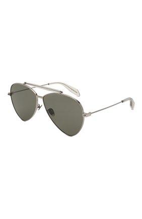 Женские солнцезащитные очки ALEXANDER MCQUEEN серебряного цвета, арт. AM0058 002   Фото 1 (Статус проверки: Проверена категория, Требуются правки; Тип очков: С/з; Очки форма: Авиаторы)