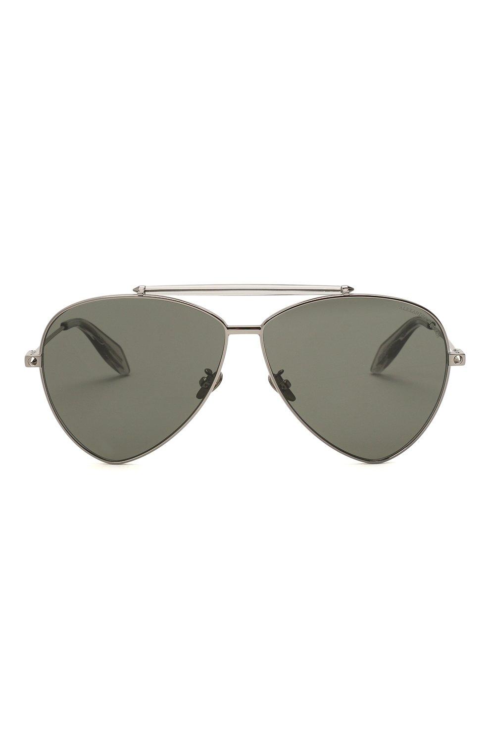 Женские солнцезащитные очки ALEXANDER MCQUEEN серебряного цвета, арт. AM0058 002 | Фото 3