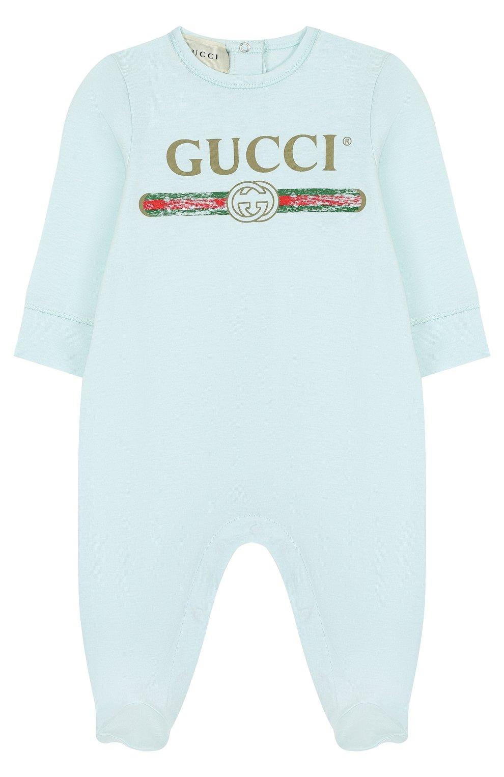 Детский хлопковая пижама с логотипом бренда GUCCI голубого цвета, арт. 504123/X3L64   Фото 1