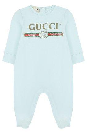 Детский хлопковая пижама с логотипом бренда GUCCI голубого цвета, арт. 504123/X3L64 | Фото 1