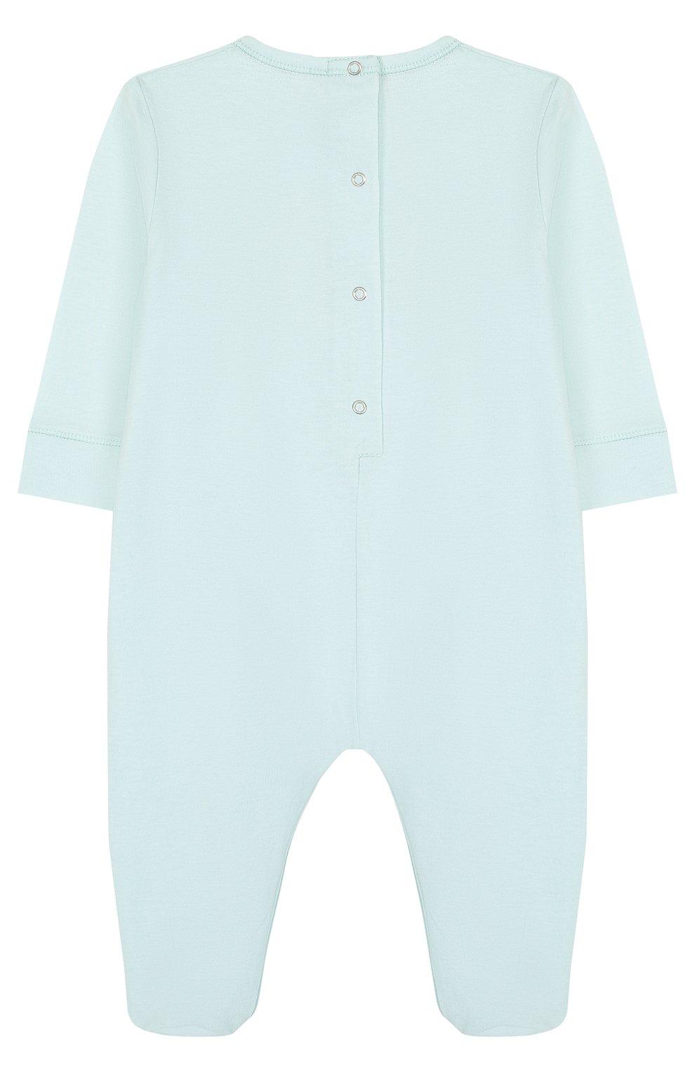 Детский хлопковая пижама с логотипом бренда GUCCI голубого цвета, арт. 504123/X3L64   Фото 2