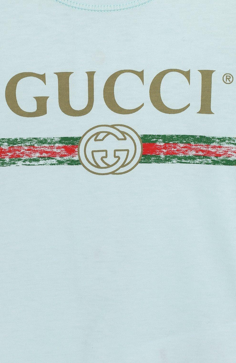 Детский хлопковая пижама с логотипом бренда GUCCI голубого цвета, арт. 504123/X3L64   Фото 3