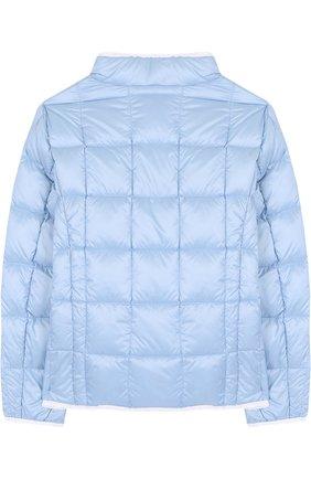 Стеганая куртка на молнии с воротником-стойкой Fay Junior голубого цвета | Фото №1