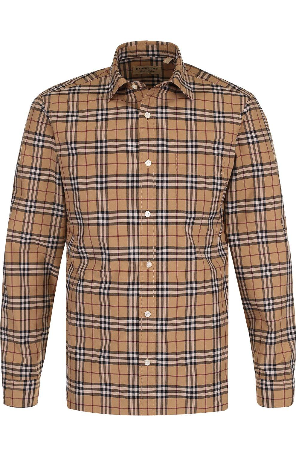 Мужская бежевого хлопковая рубашка в клетку BURBERRY — купить за ... eba174478e5