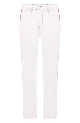Укороченные джинсы прямого кроя с лампасами | Фото №1
