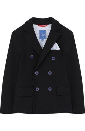 Детский двубортный пиджак Fay Junior синего цвета | Фото №1