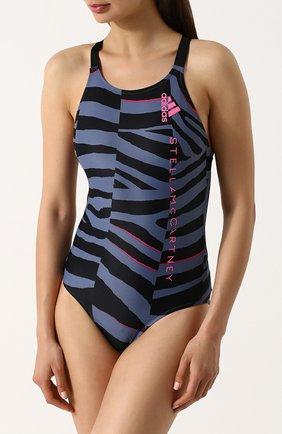 Слитный купальник с открытой спиной adidas by Stella McCartney синий | Фото №1