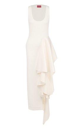 Однотонное платье-миди с оборками | Фото №1