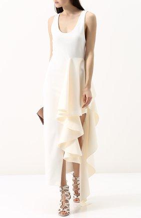 Однотонное платье-миди с оборками Solace белое | Фото №1