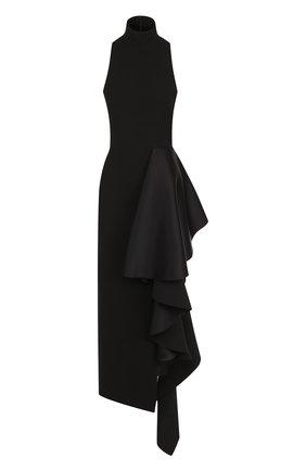 Однотонное платье-миди с оборками Solace черное | Фото №1