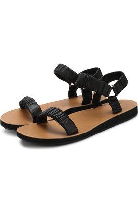 Кожаные сандалии с фактурной отделкой
