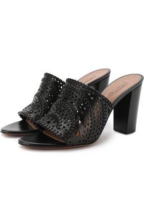 Кожаные мюли с перфорацией на устойчивом каблуке Alaia черные | Фото №1