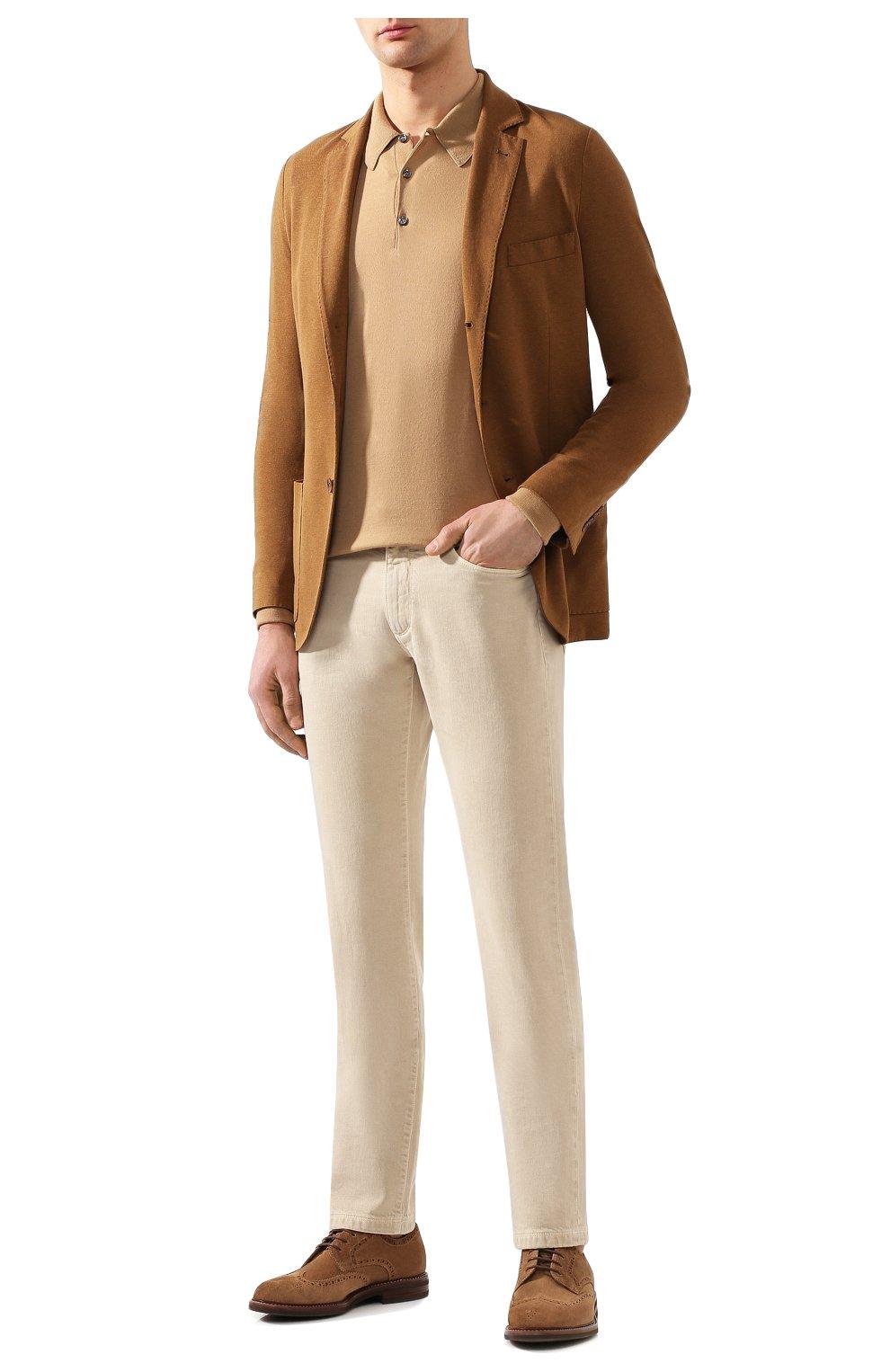 Мужские джинсы LORO PIANA светло-бежевого цвета, арт. FAG1329 | Фото 2 (Силуэт М (брюки): Прямые; Кросс-КТ: Деним; Длина (брюки, джинсы): Стандартные; Материал внешний: Хлопок; Статус проверки: Проверено, Проверена категория)