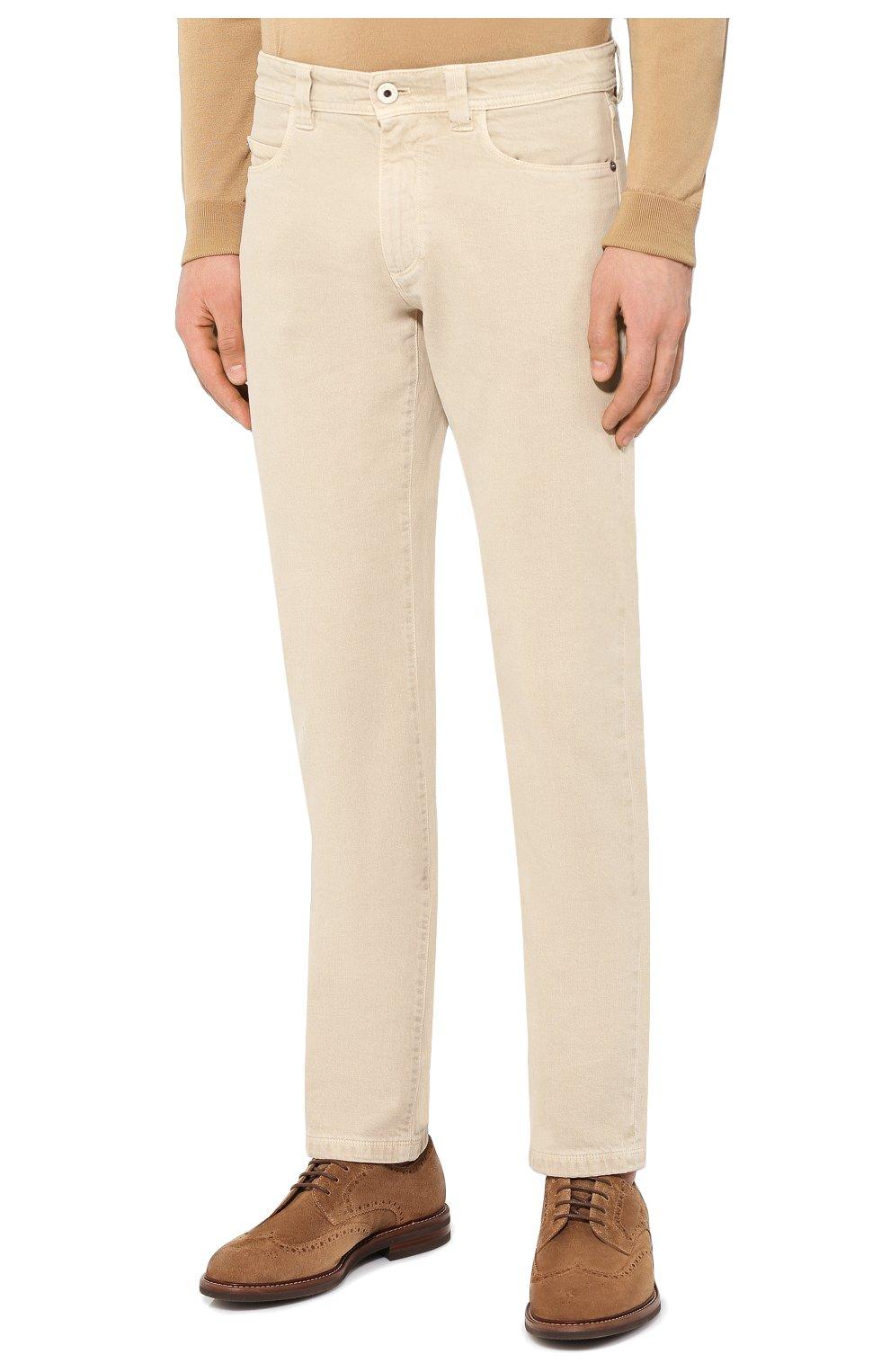 Мужские джинсы LORO PIANA светло-бежевого цвета, арт. FAG1329 | Фото 3