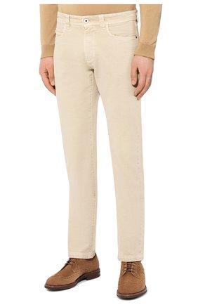 Мужские джинсы LORO PIANA светло-бежевого цвета, арт. FAG1329 | Фото 3 (Силуэт М (брюки): Прямые; Кросс-КТ: Деним; Длина (брюки, джинсы): Стандартные; Материал внешний: Хлопок; Статус проверки: Проверено, Проверена категория)