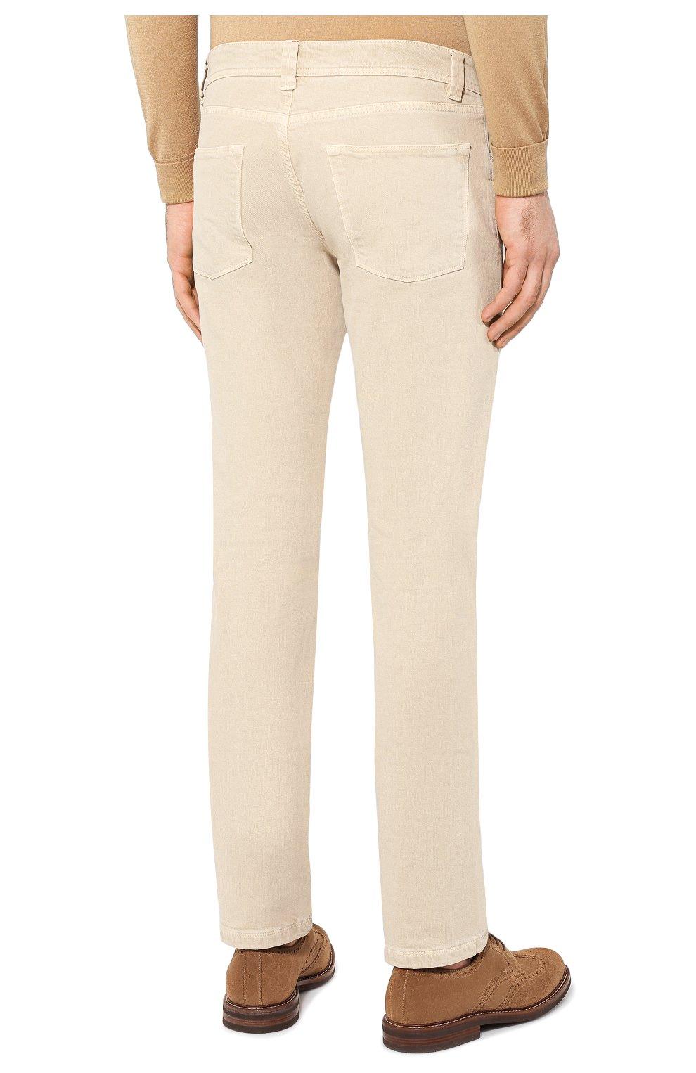 Мужские джинсы LORO PIANA светло-бежевого цвета, арт. FAG1329 | Фото 4 (Силуэт М (брюки): Прямые; Кросс-КТ: Деним; Длина (брюки, джинсы): Стандартные; Материал внешний: Хлопок; Статус проверки: Проверено, Проверена категория)