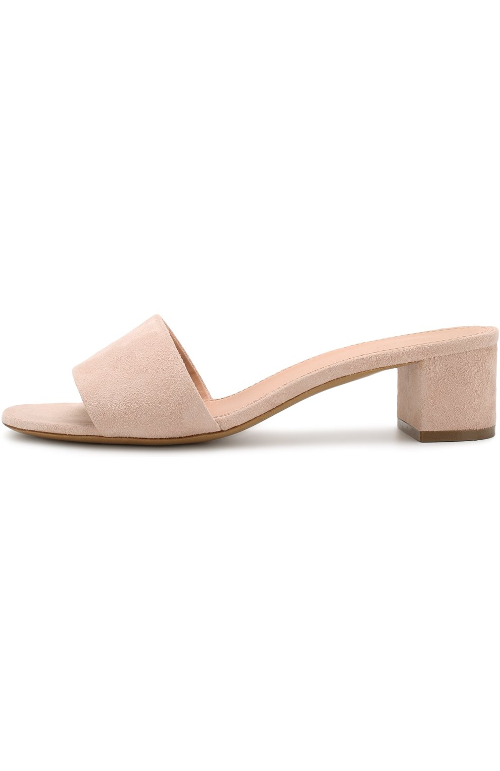 Замшевые сабо на устойчивом каблуке Mansur Gavriel светло-розовые   Фото №3