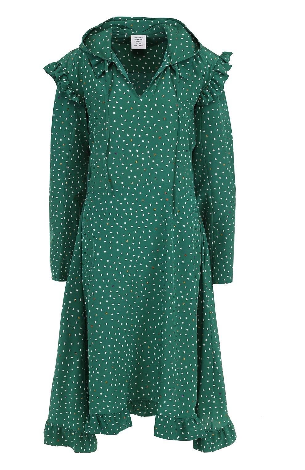ebc7bac3270 Женское зеленое шелковое платье-миди с капюшоном в горох VETEMENTS ...