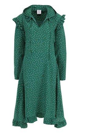 Шелковое платье-миди с капюшоном в горох | Фото №1