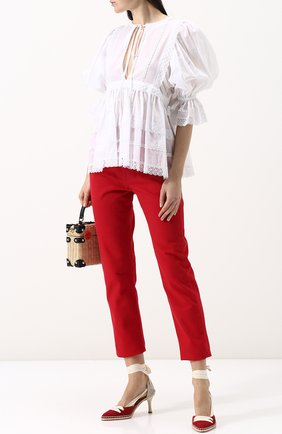 Текстильные туфли на лентах Castaner by Manolo Blahnik красные | Фото №1